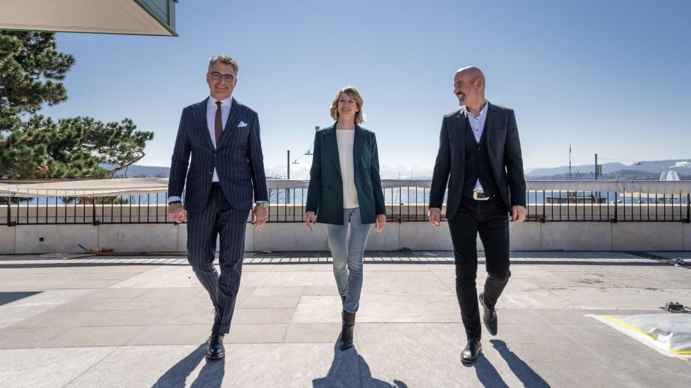ZFF-Direktor Christian Jungen, Spoundation-Geschäftsführerin Elke Mayer und Kongresshaus-CEO Roger Büchel (v.l.) Foto: © Gion Hunziker